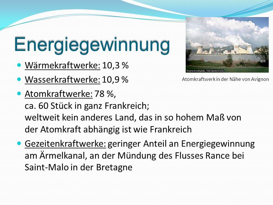 Energiegewinnung Wärmekraftwerke: 10,3 % Wasserkraftwerke: 10,9 %