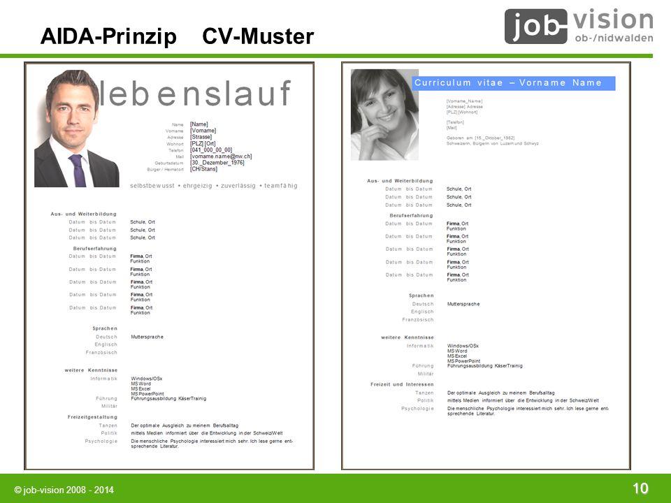 AIDA-Prinzip CV-Muster