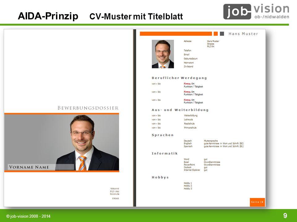 AIDA-Prinzip CV-Muster mit Titelblatt