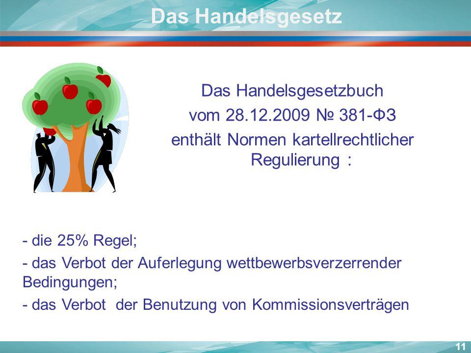 Das Handelsgesetz Das Handelsgesetzbuch vom 28.12.2009 № 381-ФЗ