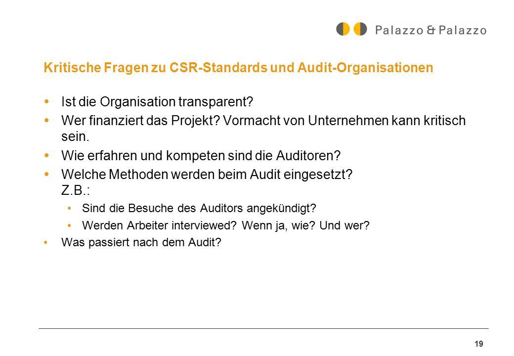 Kritische Fragen zu CSR-Standards und Audit-Organisationen