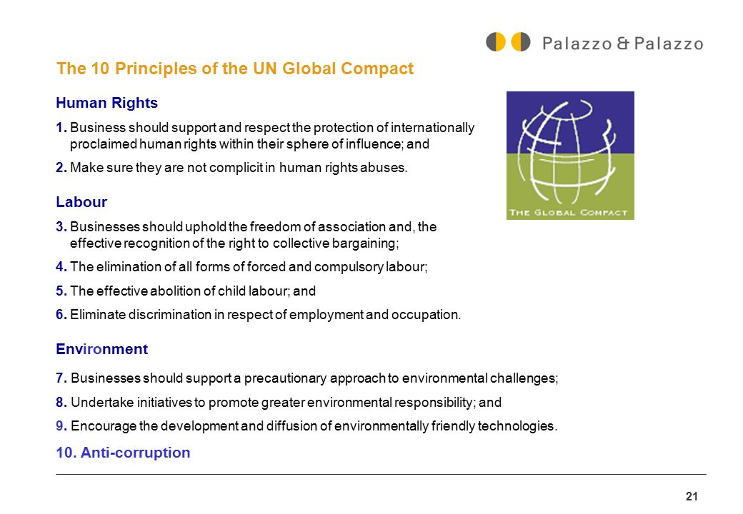 The 10 Principles of the UN Global Compact