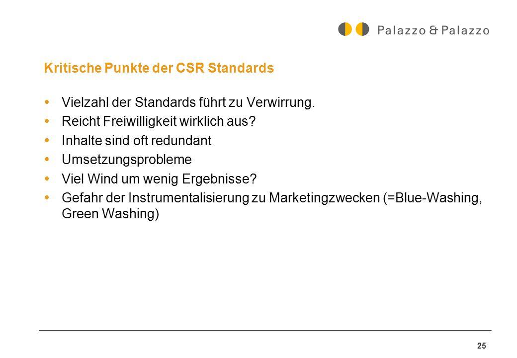 Kritische Punkte der CSR Standards