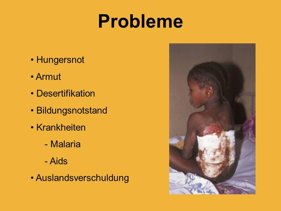 Probleme Hungersnot Armut Desertifikation Bildungsnotstand Krankheiten