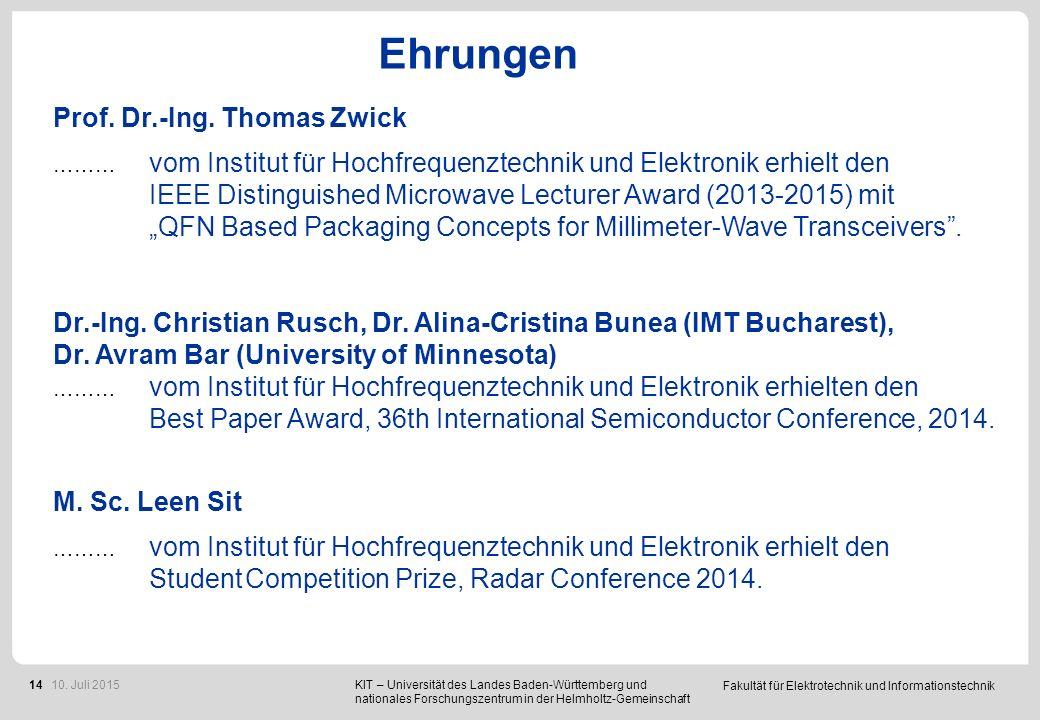 Ehrungen M. Sc. Benjamin Göttel, Dr.-Ing. Philipp Pahl, M.Sc Stefan Malz und Prof. Dr. Ing. Thomas Zwick.