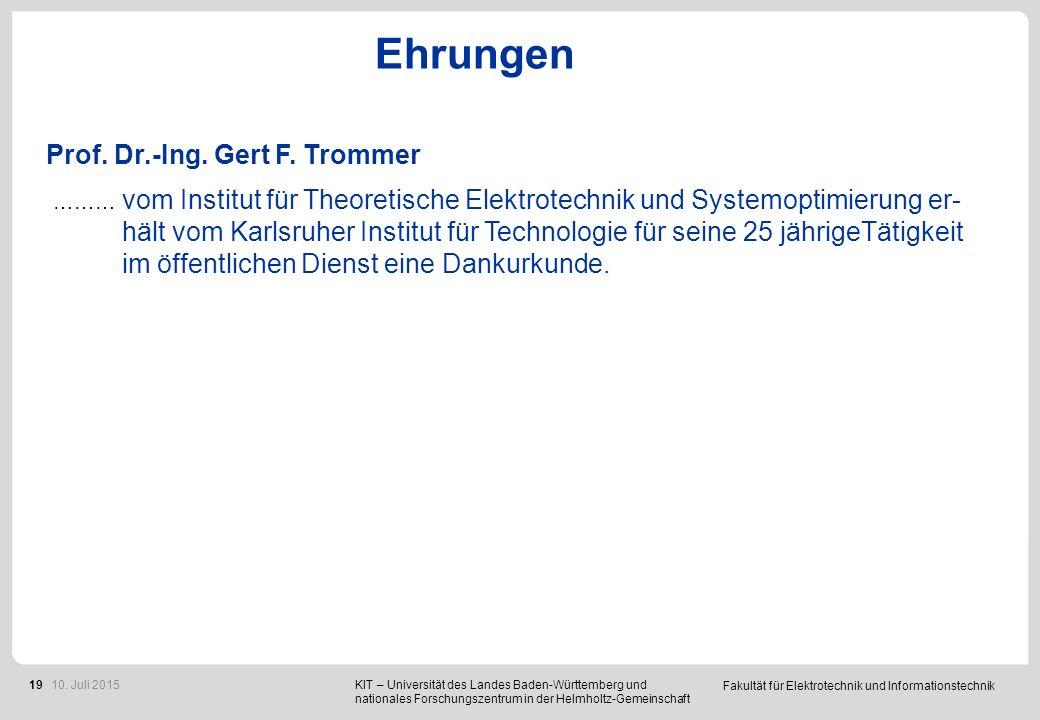 26 Deutschlandstipendien für die Fakultät ETIT vergeben.