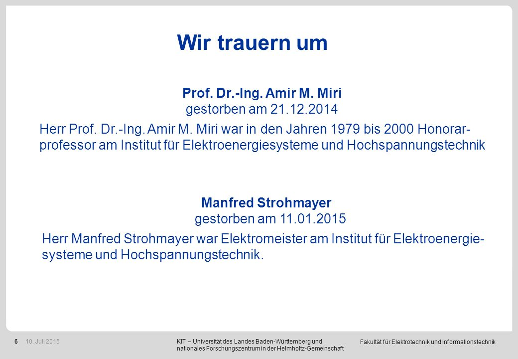 Prof. Dr.-Ing. Thomas Leibfried Elektrotechnik und Informationstechnik