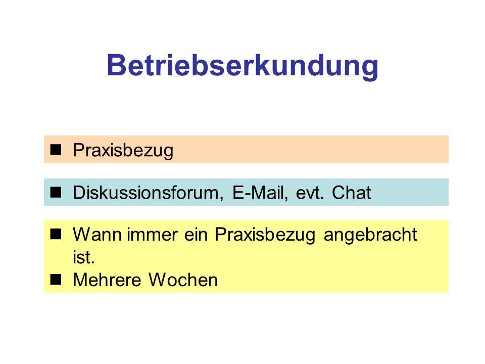Betriebserkundung Praxisbezug Diskussionsforum, E-Mail, evt. Chat