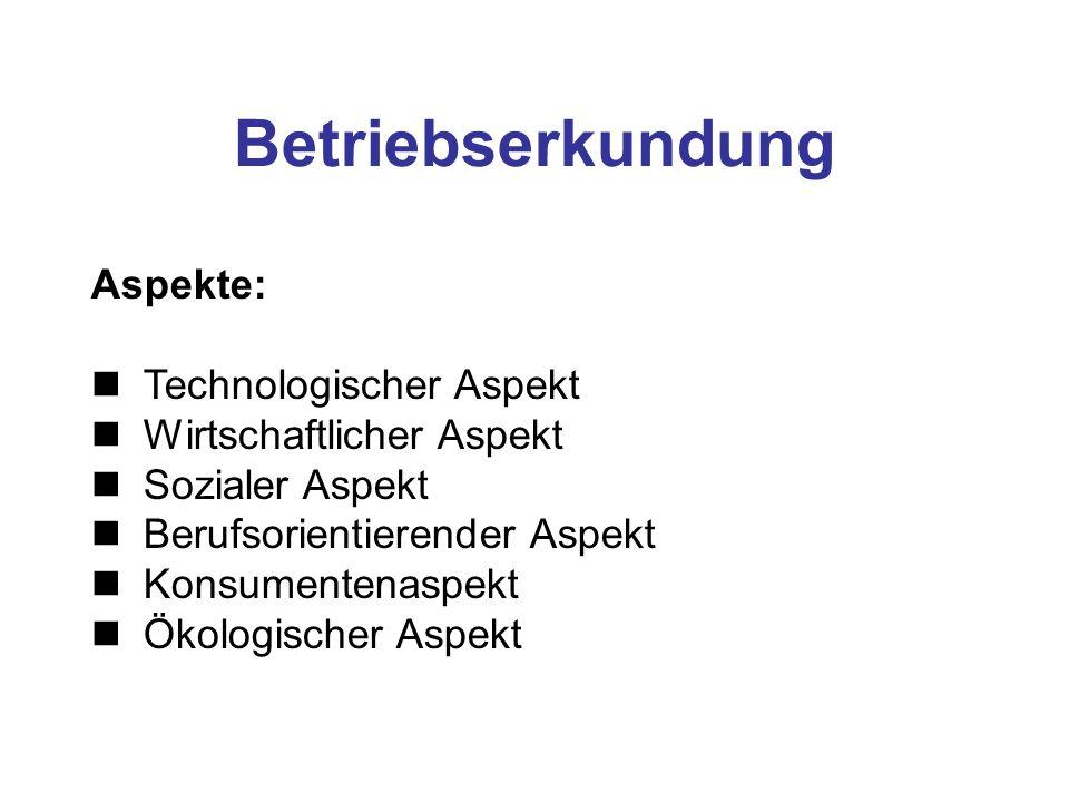 Betriebserkundung Aspekte: Technologischer Aspekt