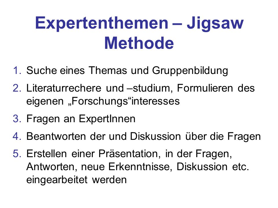 Expertenthemen – Jigsaw Methode