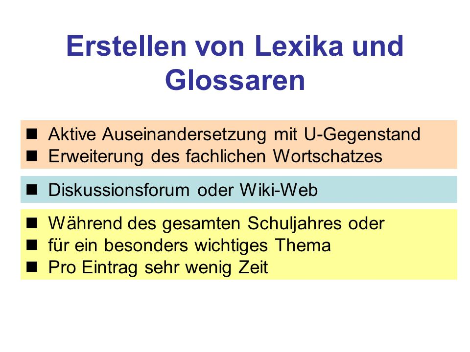 Erstellen von Lexika und Glossaren
