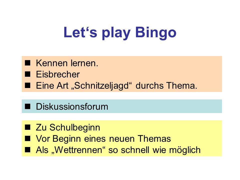 Let's play Bingo Kennen lernen. Eisbrecher