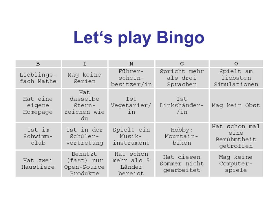 Let's play Bingo
