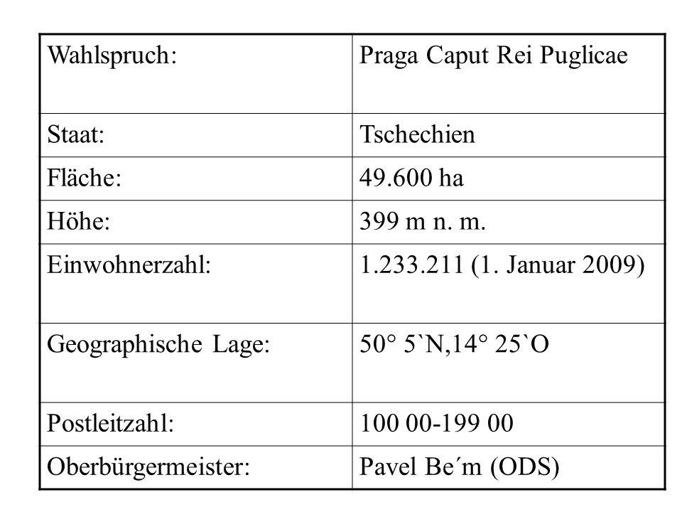 Wahlspruch: Praga Caput Rei Puglicae. Staat: Tschechien. Fläche: 49.600 ha. Höhe: 399 m n. m.