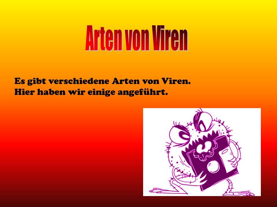 Arten von Viren Es gibt verschiedene Arten von Viren.