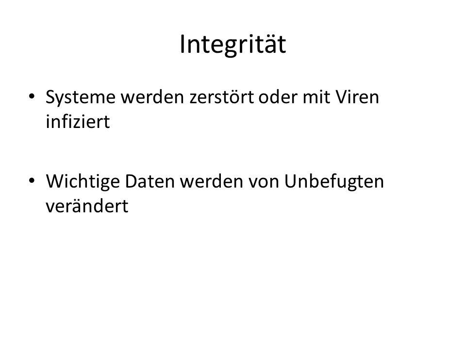Integrität Systeme werden zerstört oder mit Viren infiziert