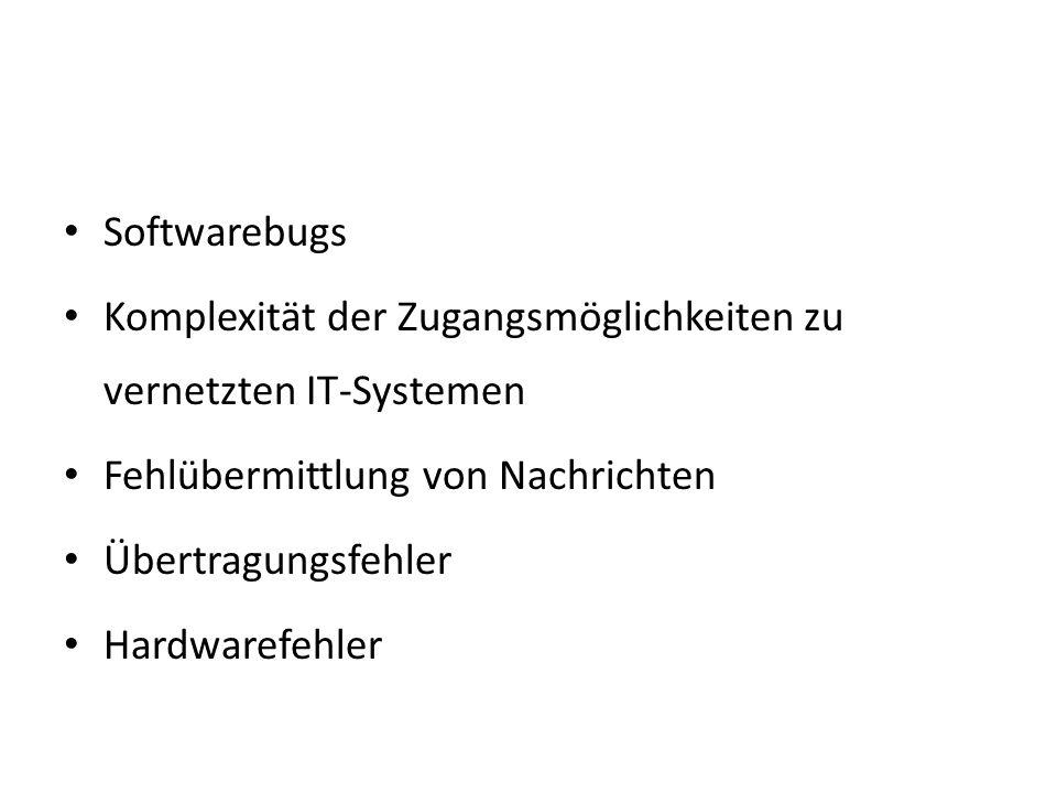 Softwarebugs Komplexität der Zugangsmöglichkeiten zu vernetzten IT-Systemen. Fehlübermittlung von Nachrichten.