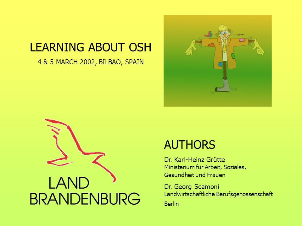 LEARNING ABOUT OSH AUTHORS 4 & 5 MARCH 2002, BILBAO, SPAIN