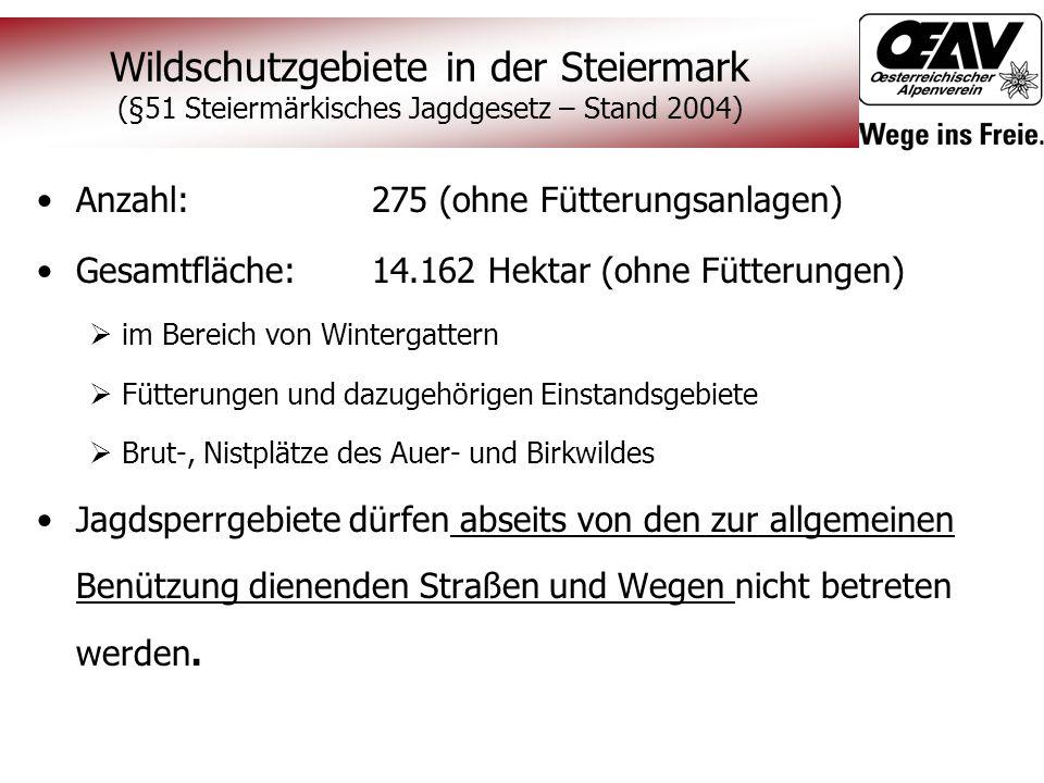Wildschutzgebiete in der Steiermark (§51 Steiermärkisches Jagdgesetz – Stand 2004)