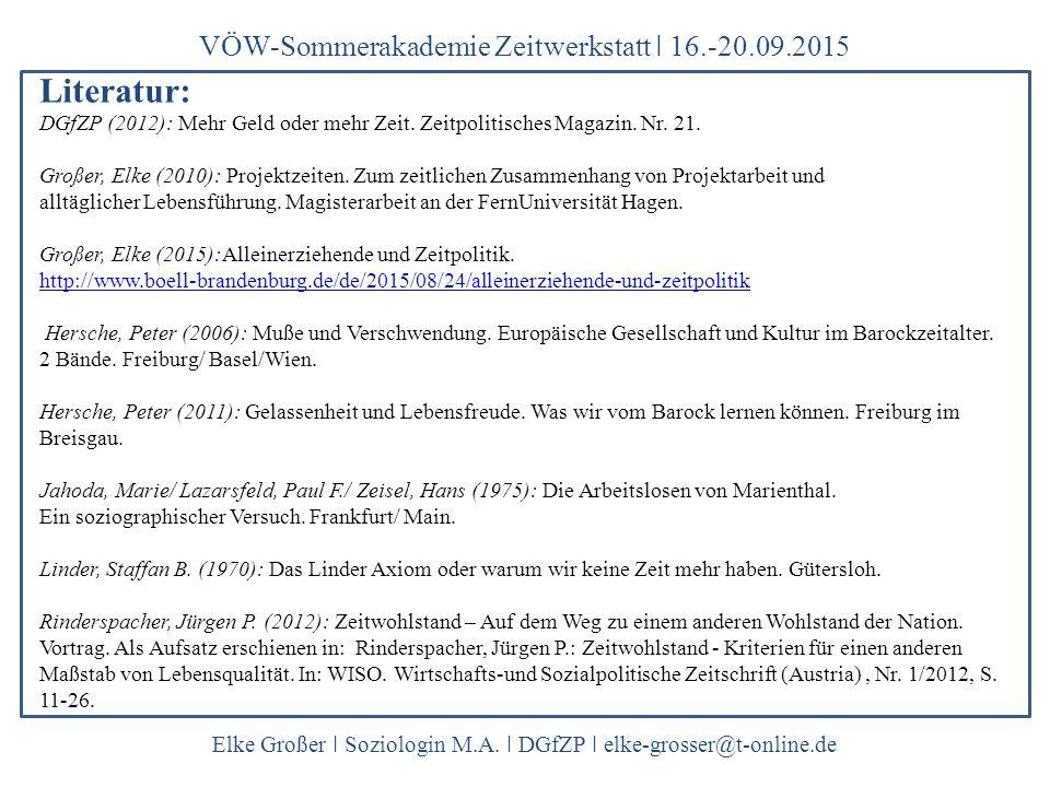 Literatur: VÖW-Sommerakademie Zeitwerkstatt ǀ 16.-20.09.2015