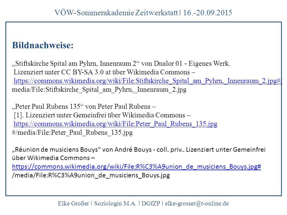 Bildnachweise: VÖW-Sommerakademie Zeitwerkstatt ǀ 16.-20.09.2015