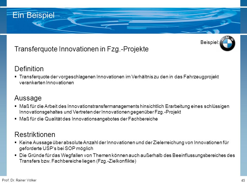 Ein Beispiel Transferquote Innovationen in Fzg.-Projekte Definition