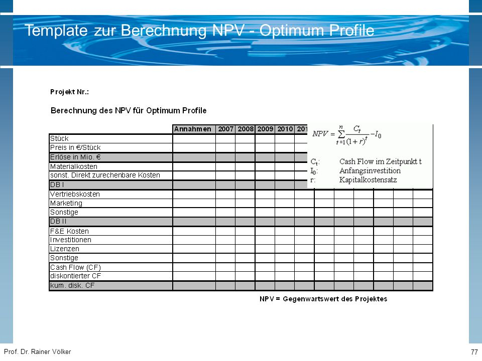 Template zur Berechnung NPV - Optimum Profile