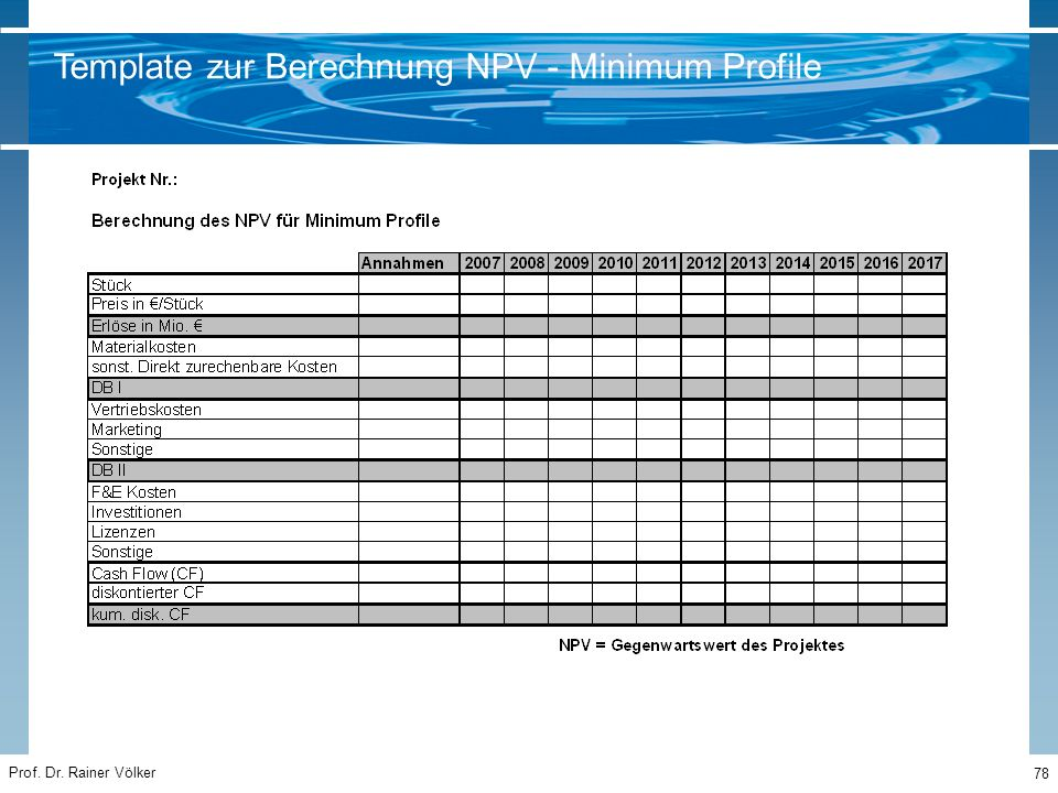 Template zur Berechnung NPV - Minimum Profile