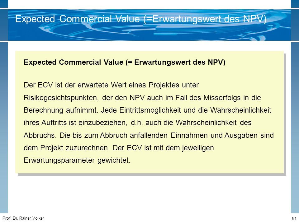 Expected Commercial Value (=Erwartungswert des NPV)
