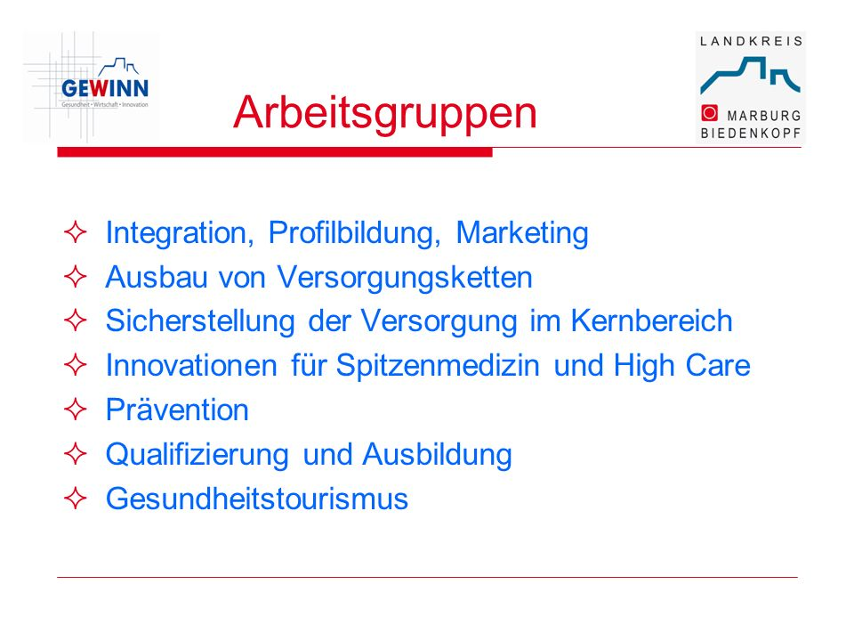 Arbeitsgruppen Integration, Profilbildung, Marketing