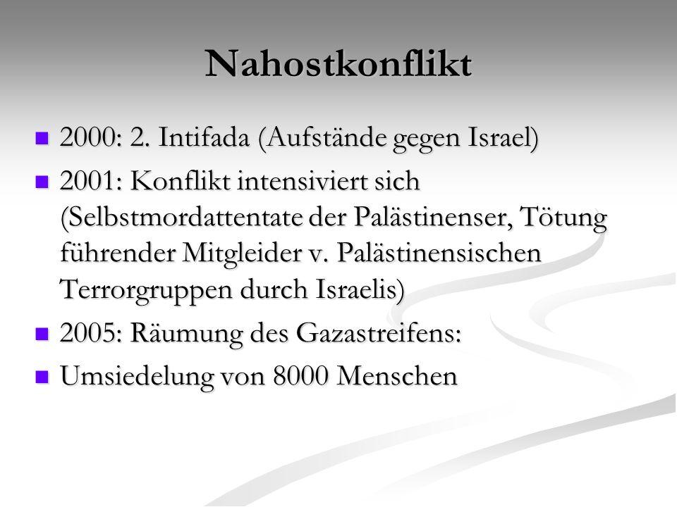 Nahostkonflikt 2000: 2. Intifada (Aufstände gegen Israel)