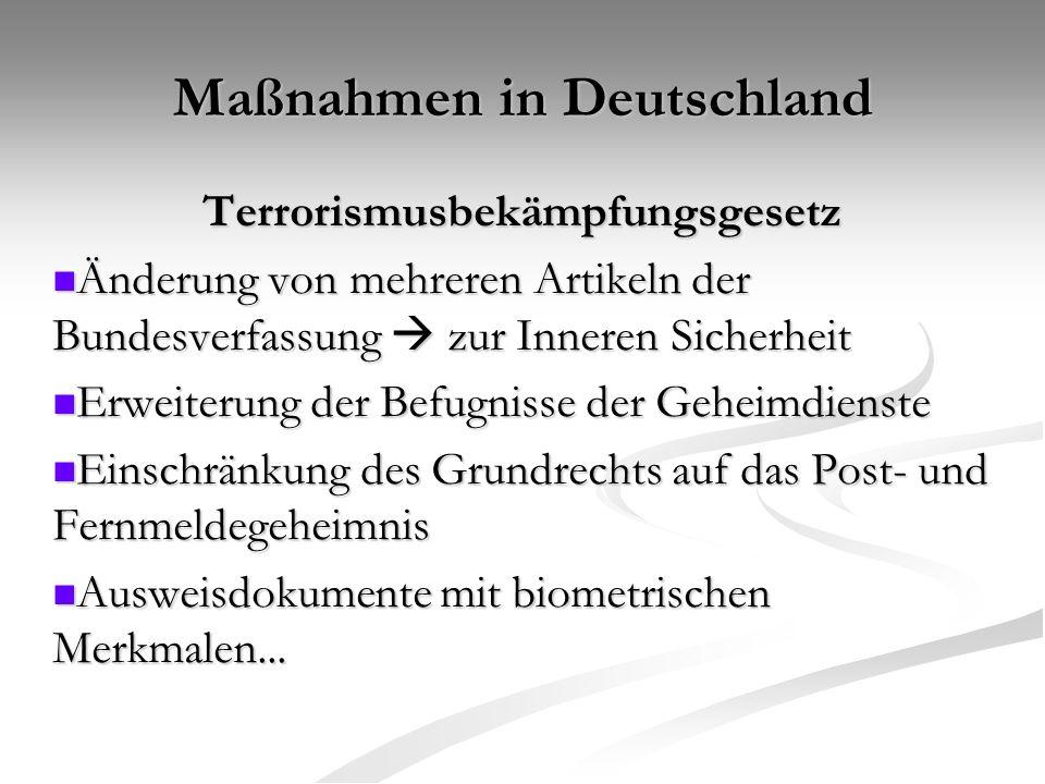 Maßnahmen in Deutschland