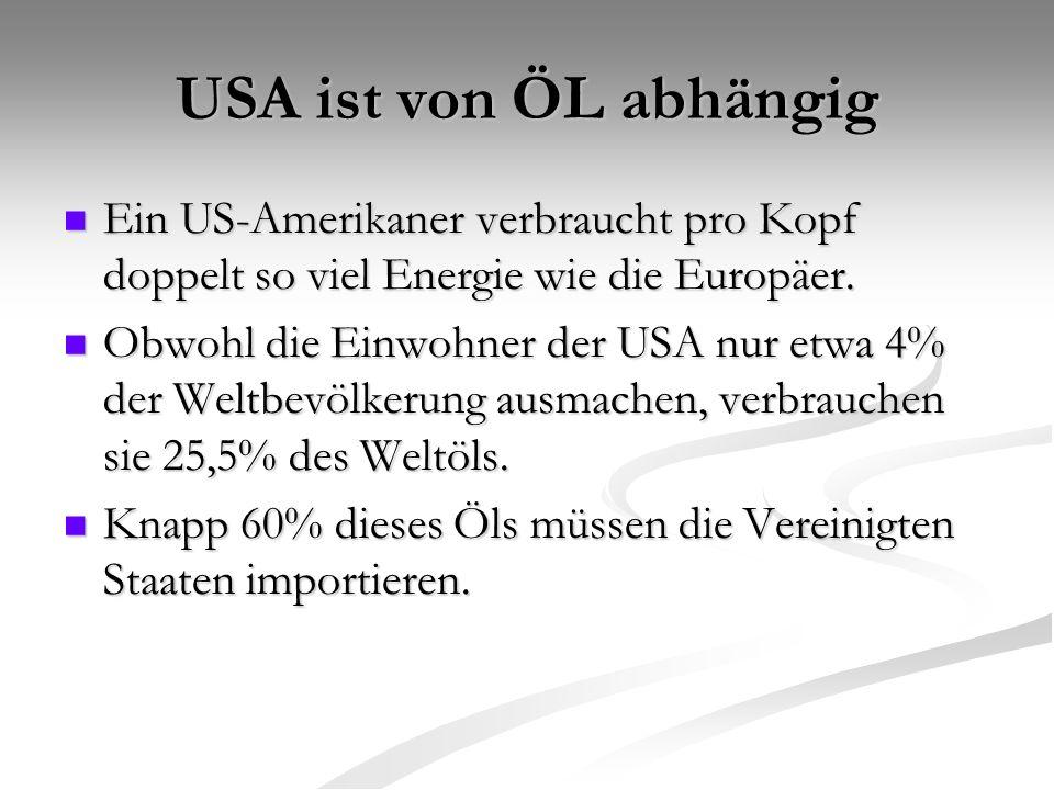 USA ist von ÖL abhängig Ein US-Amerikaner verbraucht pro Kopf doppelt so viel Energie wie die Europäer.