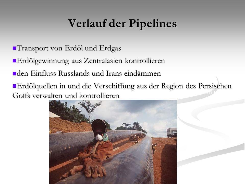 Verlauf der Pipelines Transport von Erdöl und Erdgas