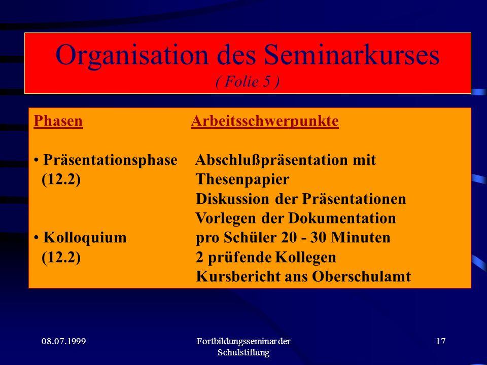 Organisation des Seminarkurses ( Folie 5 )