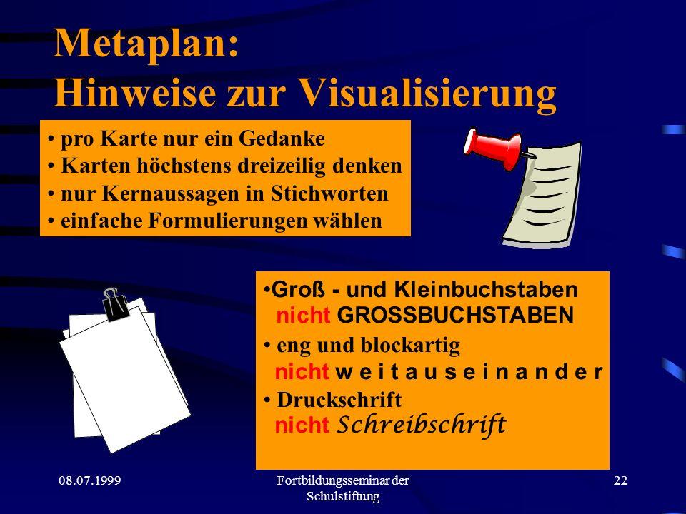 Metaplan: Hinweise zur Visualisierung