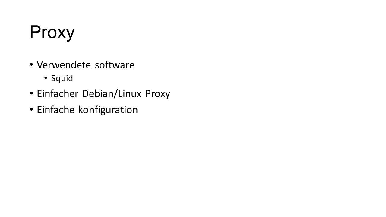 Proxy Verwendete software Einfacher Debian/Linux Proxy