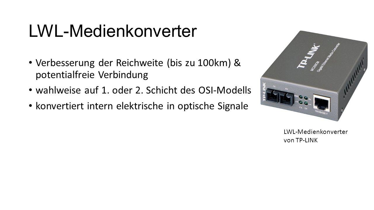 LWL-Medienkonverter Verbesserung der Reichweite (bis zu 100km) & potentialfreie Verbindung. wahlweise auf 1. oder 2. Schicht des OSI-Modells.
