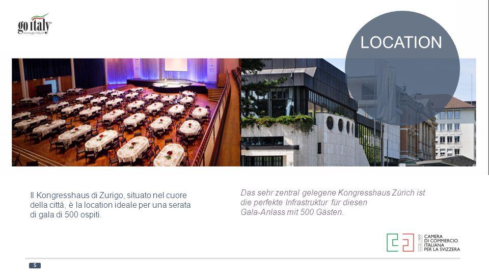 LOCATION Il Kongresshaus di Zurigo, situato nel cuore della città, è la location ideale per una serata di gala di 500 ospiti.