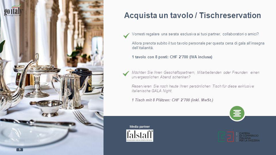 Acquista un tavolo / Tischreservation