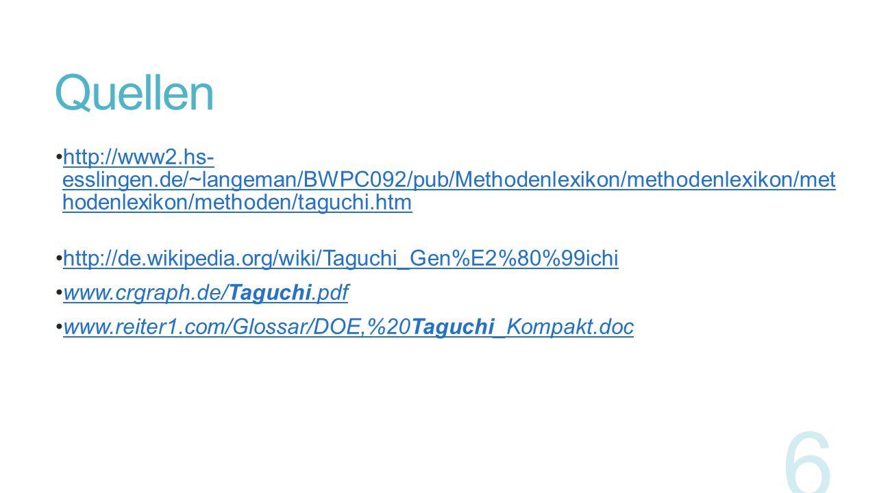 Quellen http://www2.hs- esslingen.de/~langeman/BWPC092/pub/Methodenlexikon/methodenlexikon/methodenl exikon/methoden/taguchi.htm.