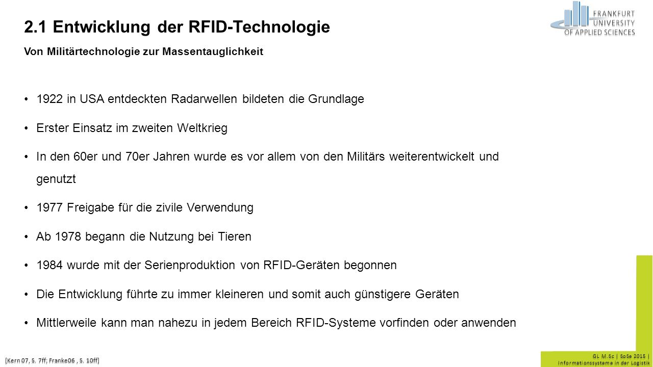 2.1 Entwicklung der RFID-Technologie Von Militärtechnologie zur Massentauglichkeit