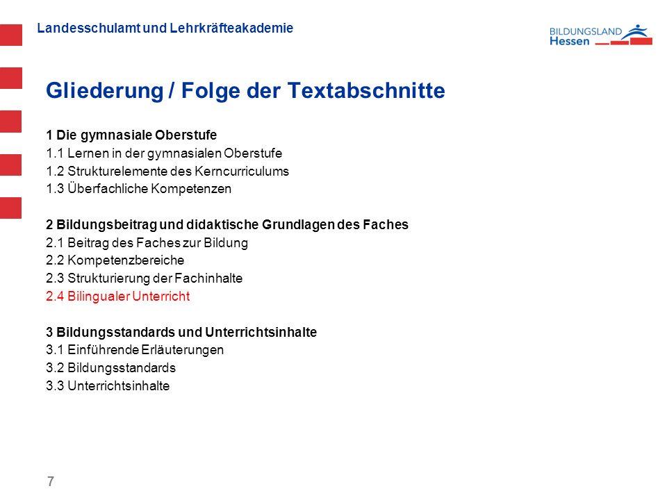 Gliederung / Folge der Textabschnitte