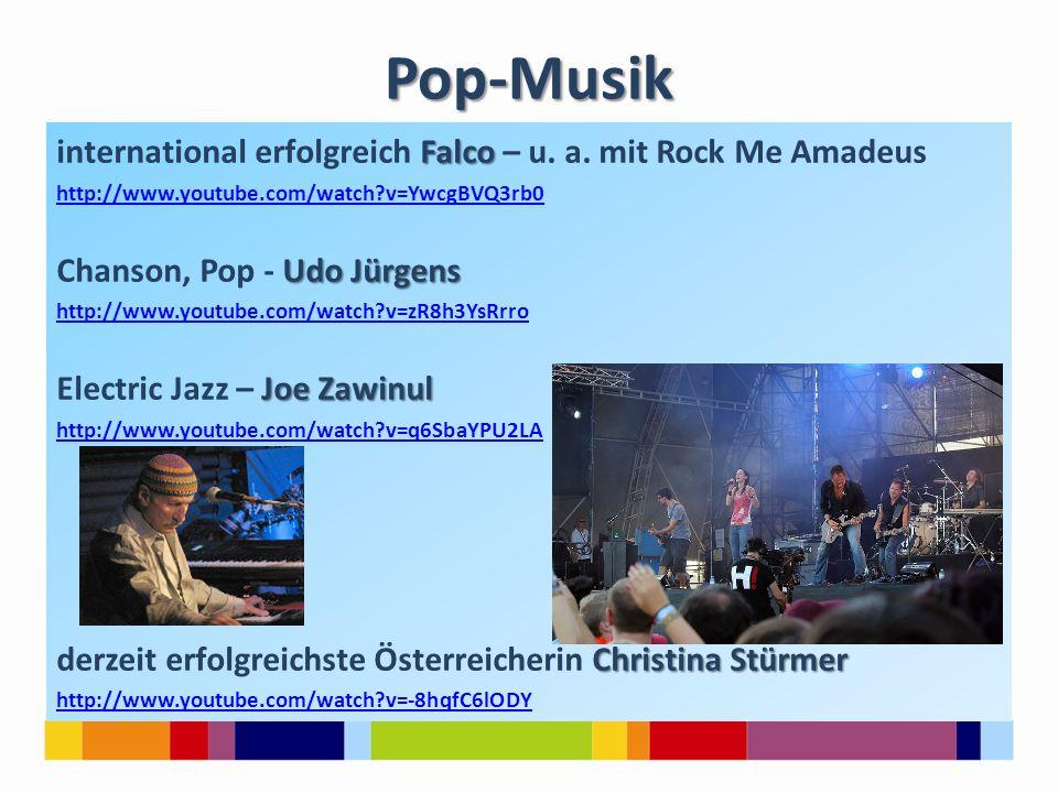 Pop-Musik international erfolgreich Falco – u. a. mit Rock Me Amadeus