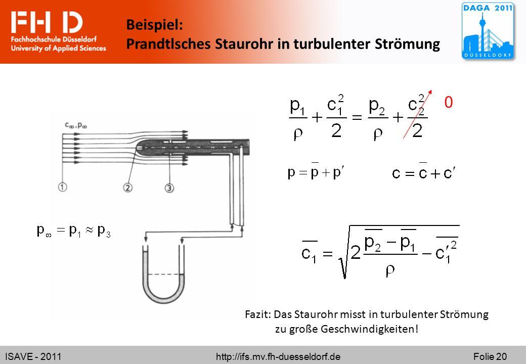 Prandtlsches Staurohr in turbulenter Strömung