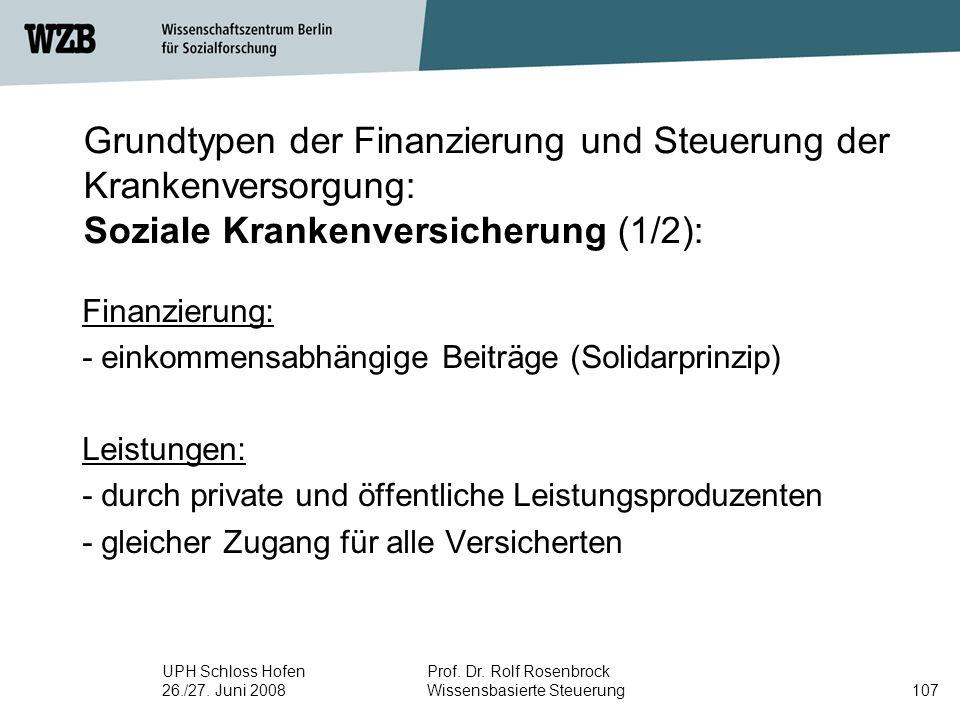 Grundtypen der Finanzierung und Steuerung der Krankenversorgung: Soziale Krankenversicherung (1/2):