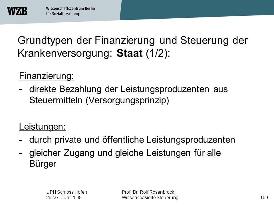 Grundtypen der Finanzierung und Steuerung der Krankenversorgung: Staat (1/2):