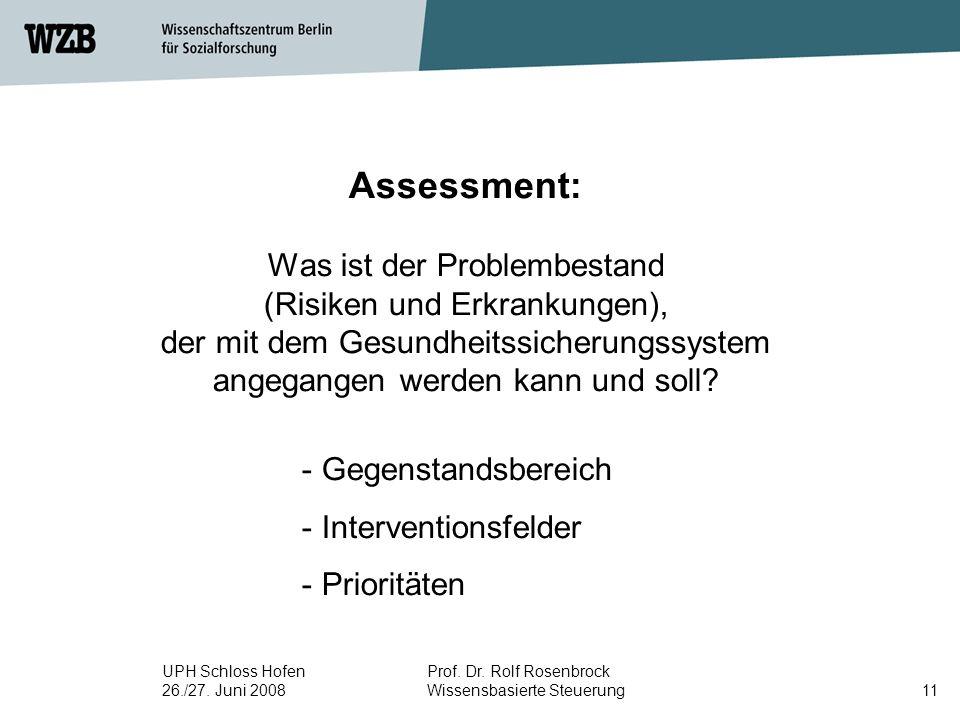 Assessment: Was ist der Problembestand (Risiken und Erkrankungen), der mit dem Gesundheitssicherungssystem angegangen werden kann und soll