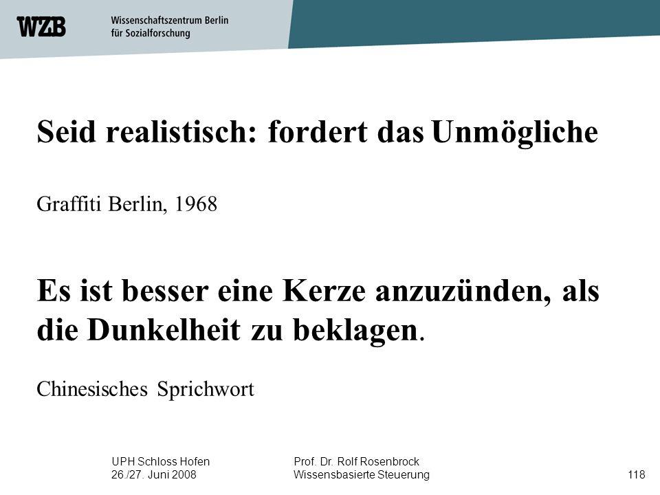 Seid realistisch: fordert das Unmögliche Graffiti Berlin, 1968 Es ist besser eine Kerze anzuzünden, als die Dunkelheit zu beklagen. Chinesisches Sprichwort