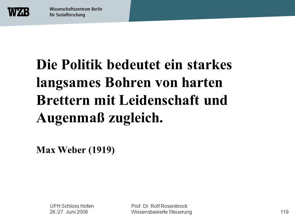Die Politik bedeutet ein starkes langsames Bohren von harten Brettern mit Leidenschaft und Augenmaß zugleich. Max Weber (1919)